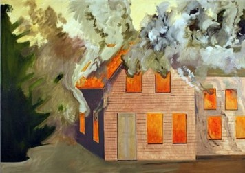 lois-dodd-burning-house-with-clapboards