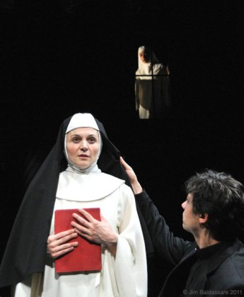 as Mother Augustina with Andy Paris and Amelia Workman in A WORLD APART at the Flea Theater, directed by Jean Randich