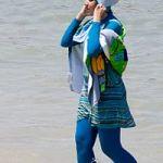 The burkini lady- Beach style.