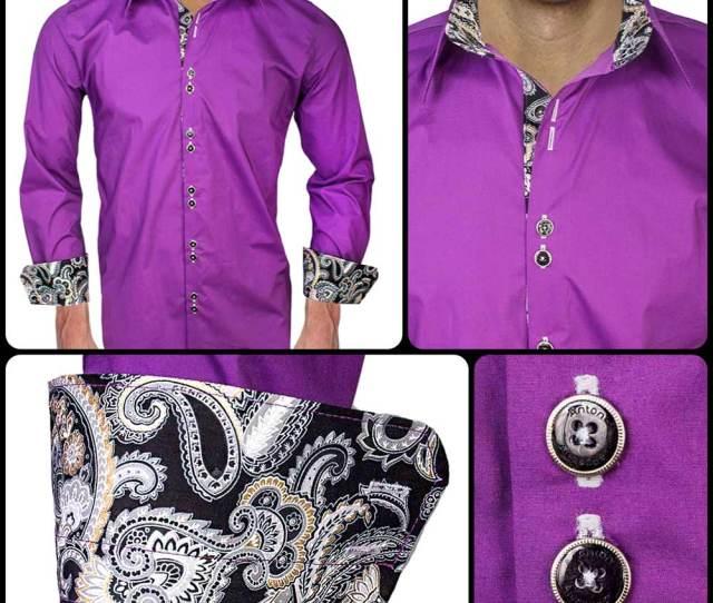 Purple With Black Dress Shirt