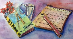 picture of a diary and a calendar