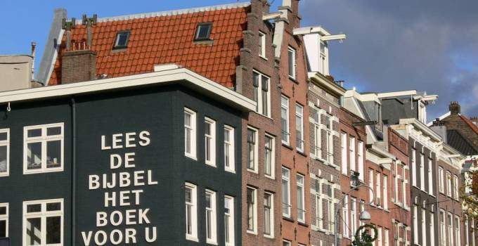 Read the Bible sign on house in Amsterdam