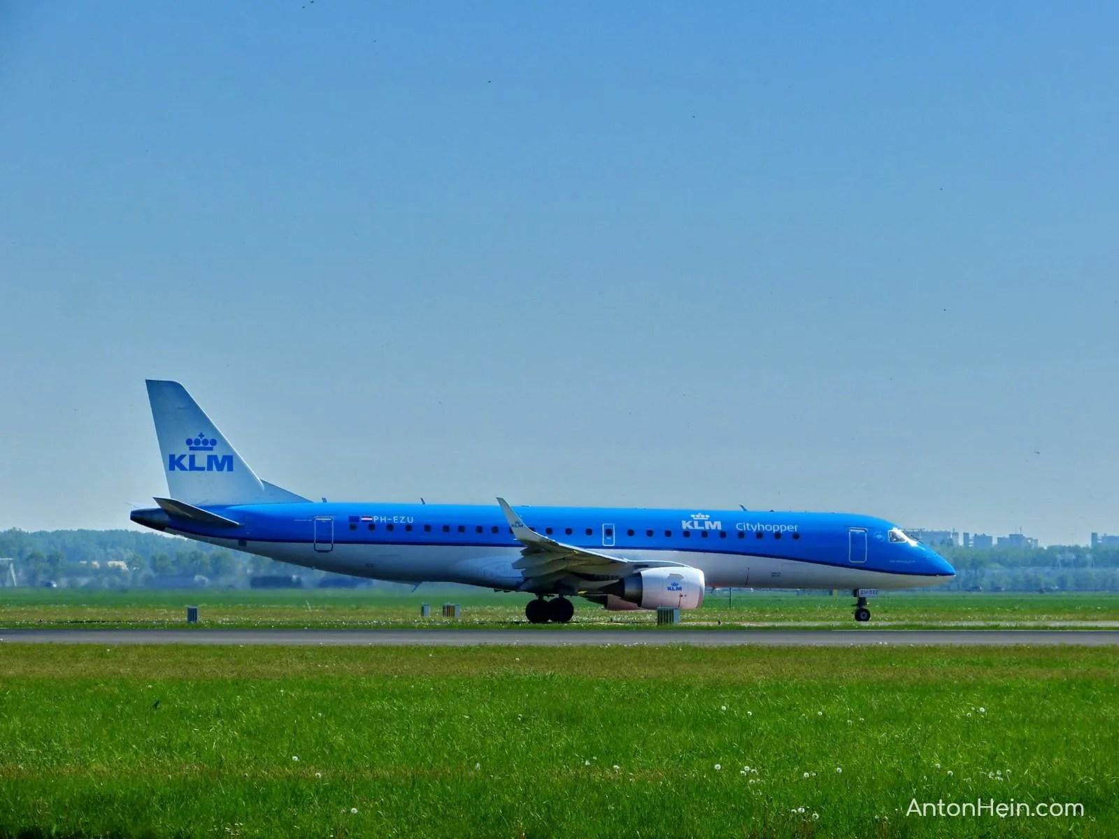 Blue KLM airplanes