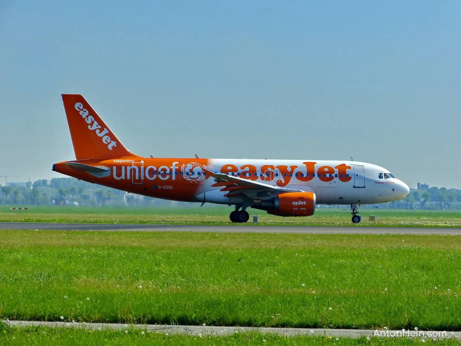 Easyjet plane just landed at Amsterdam Airport Schiphol