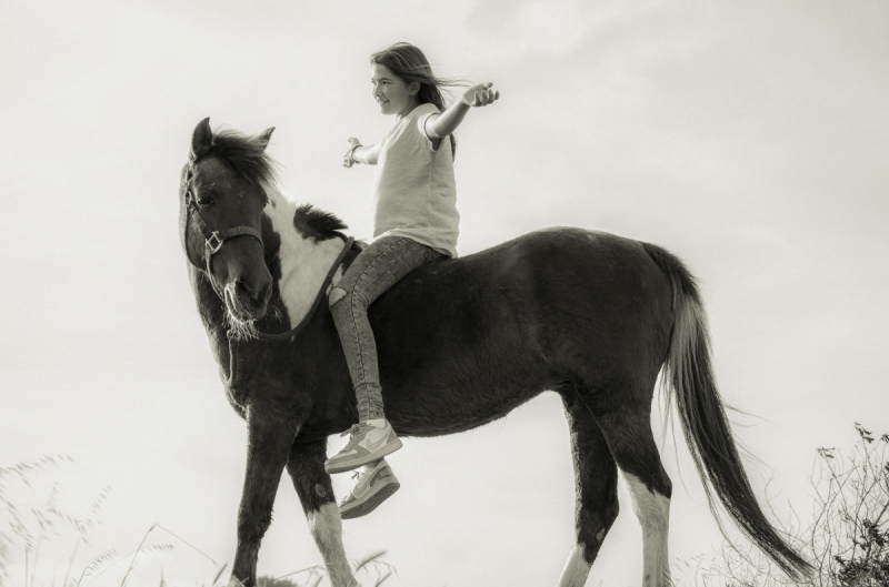 Cute young girl with spotted pony