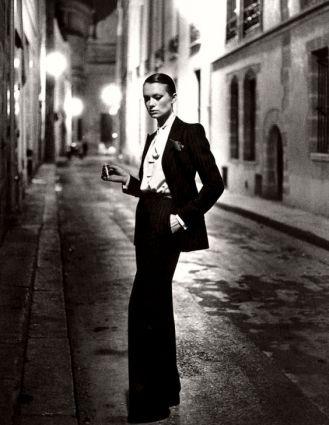 YSL Tuxedo Suit. Photo by Helmut Newton