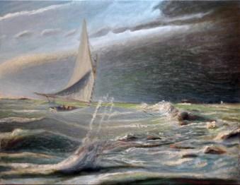"""Falcon, Brenton Reef"" oil on canvas"