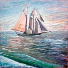 """Raising the Fisherman"" 24"" x 24"" oil on canvas"
