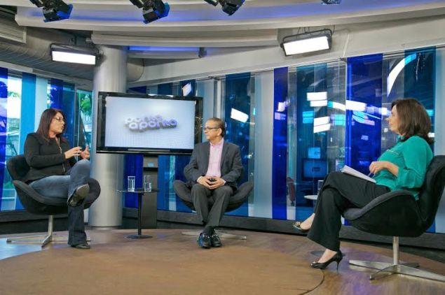 Mônicas Bergamo e Antonio Lavareda entrevistam Helcimara Telles / Reprodução: Blog Henrique Barbosa