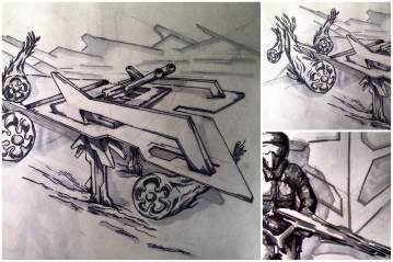 ALG Concept Sketches - The SpaceShips A_00 Series : Visual 2D and 3D Development of a Comic Space Battle Mission by ALG [Teaser Shots] img_010