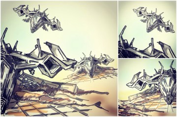ALG Concept Sketches - The SpaceShips A_00 Series : Visual 2D and 3D Development of a Comic Space Battle Mission by ALG [Teaser Shots] img_018