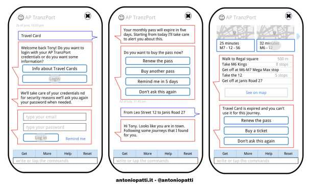 Chatbot's user interaction and functions example for a Transport Company - Antonio Patti
