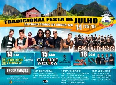 Divulgada a programação da Tradicional Festa de Julho 2017