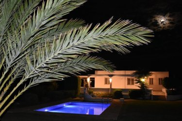 Garden and pool night view