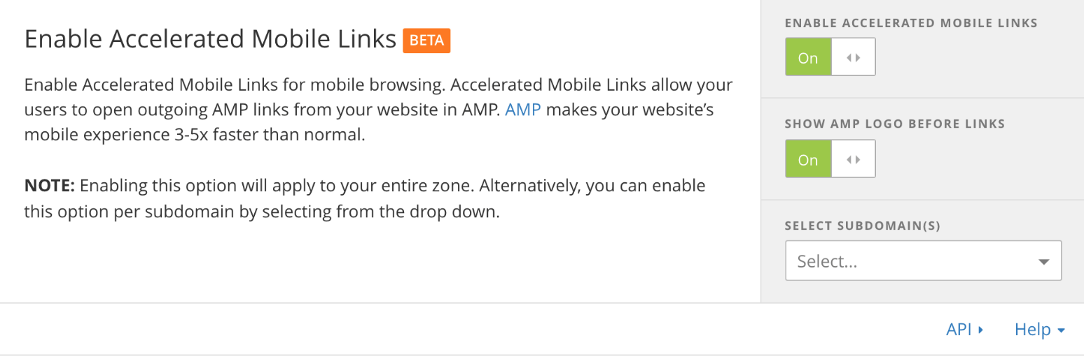 Cloudflare - Enable Accelerated Mobile Links (AMP)