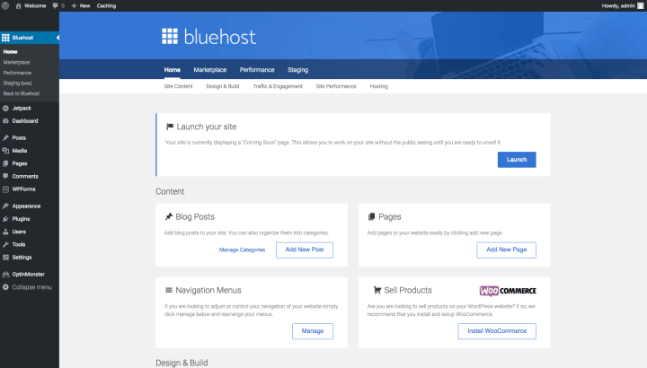 Launch WordPress Site on Bluehost