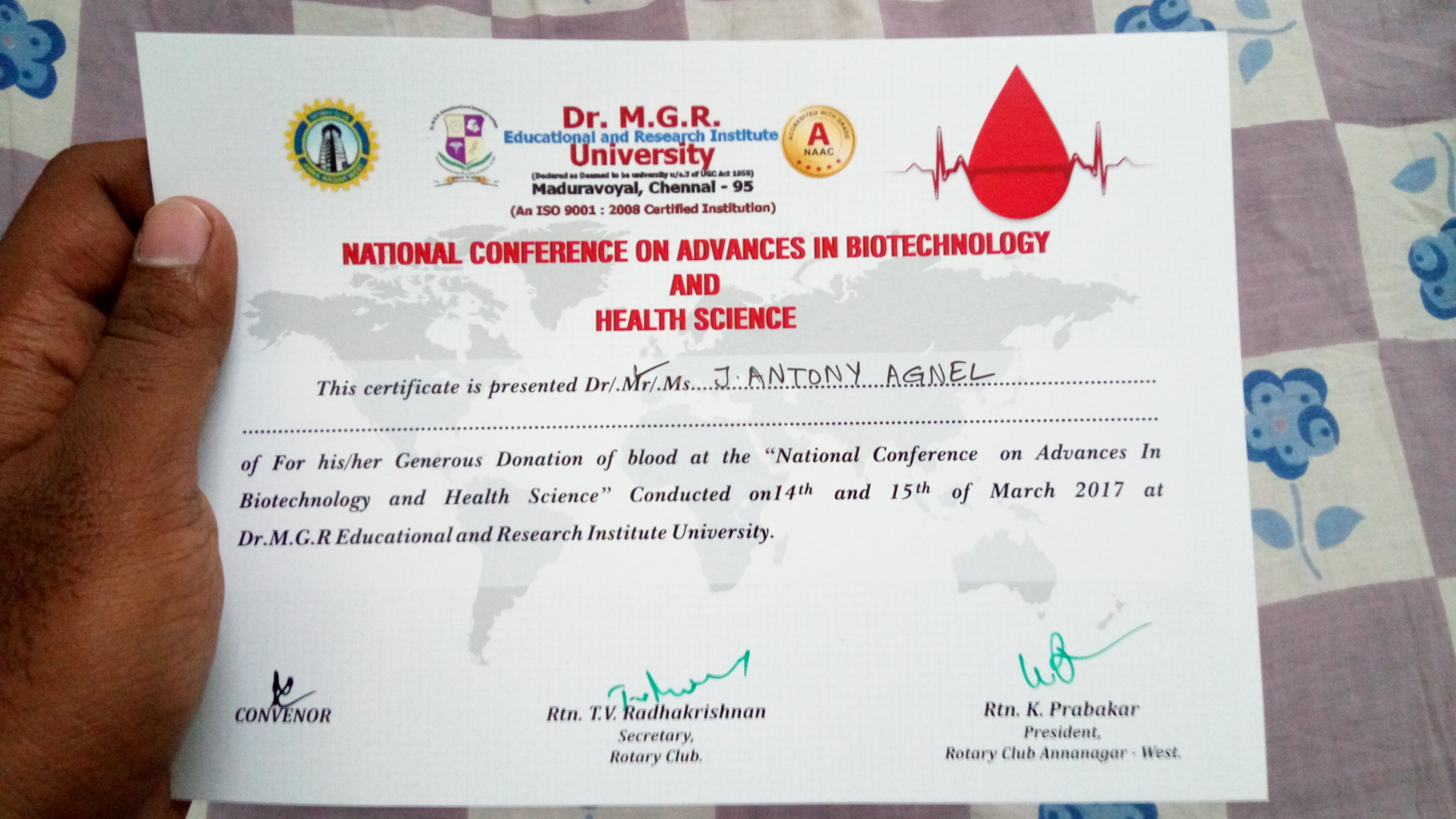 Blood Donation Certificate - Rotary Club