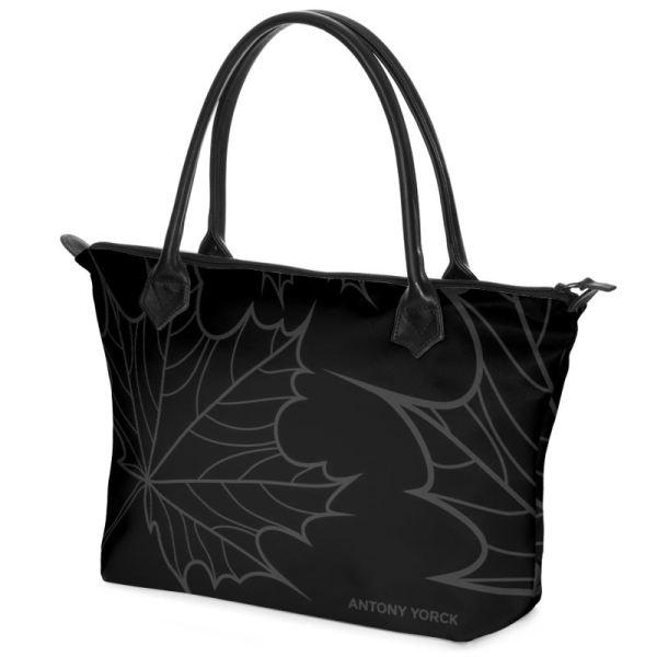 antony yorck shopper tasche maple leaf floral print style black anthrazit 134770 01
