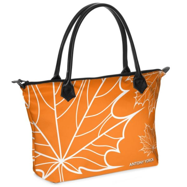 antony yorck shopper tasche maple leaf floral print style orange white 134519 01
