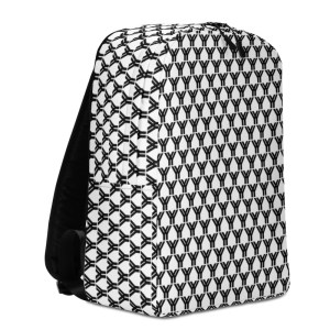 antony yorck rucksack fashion brand logo grid schwarz weiss extra fach laptop notebook 15 zoll plus geheimfach wasserfest ansicht links 5E85BEA19FA2C