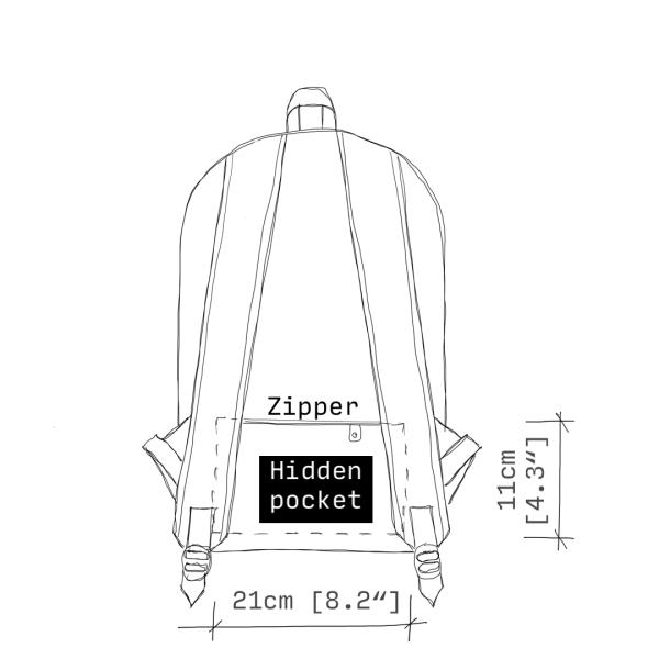 antony yorck rucksack backpack laptop waterproof hidden pocket dimensions back schematic drawing 0001