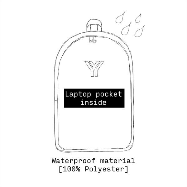 antony yorck rucksack backpack laptop waterproof hidden pocket dimensions front schematic drawing 0002