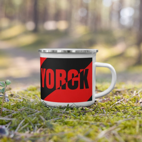 Antony Yorck • Emaille Becher YY brand black red stripes • Collection OBVIOUS 4 antony yorck enamel mug outdoor obvious stripes red black 0003