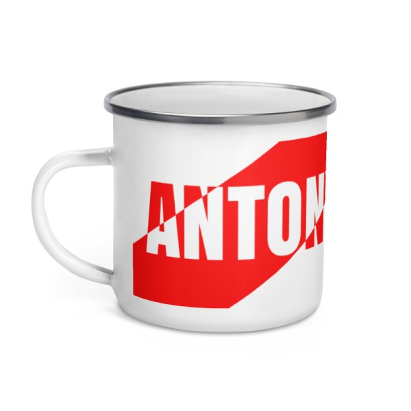 Antony Yorck • Emaille Becher YY brand red stripes • Collection OBVIOUS 2 antony yorck enamel mug outdoor obvious stripes red white 0002