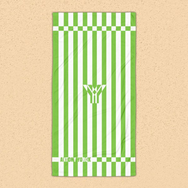 Antony Yorck • Strandtuch Badetuch Handtuch Saunatuch • grün weiß schräg gestreift • collection OBVIOUS 1 antony yorck beach towel blanket badetuch strandtuch stripes green white 0001