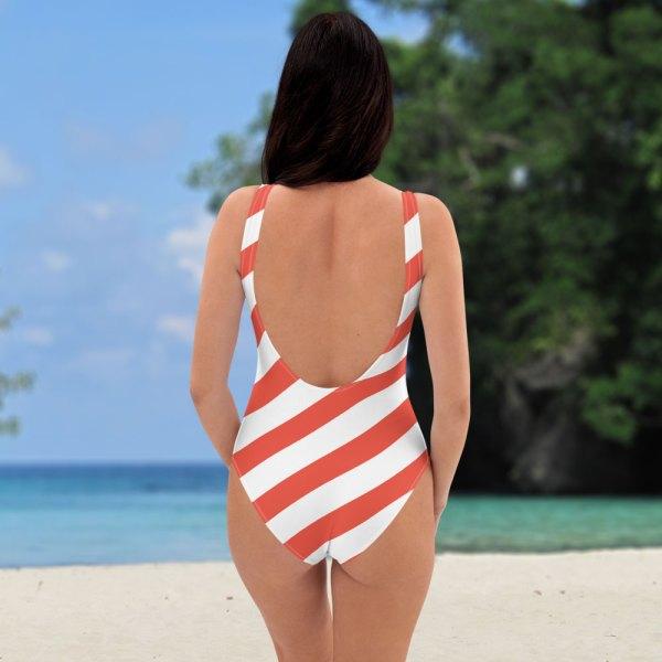 Badeanzug einteilig coral korall weiß schräg gestreift collection OBVIOUS 4 antony yorck one piece swimsuit badeanzug swimwear bechwear stripes coral white 0014a