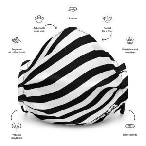 Antony Yorck Online Shop Microfaser Designer Gesichtsmaske schwarz weiss gestreift Mund-Nasen-Maske anpassbar an Nase verstellbare Ohrschlaufen0003