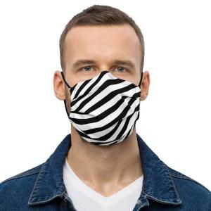 Antony Yorck Online Shop Microfaser Designer Gesichtsmaske schwarz weiss gestreift Mund-Nasen-Maske anpassbar an Nase verstellbare Ohrschlaufen0004