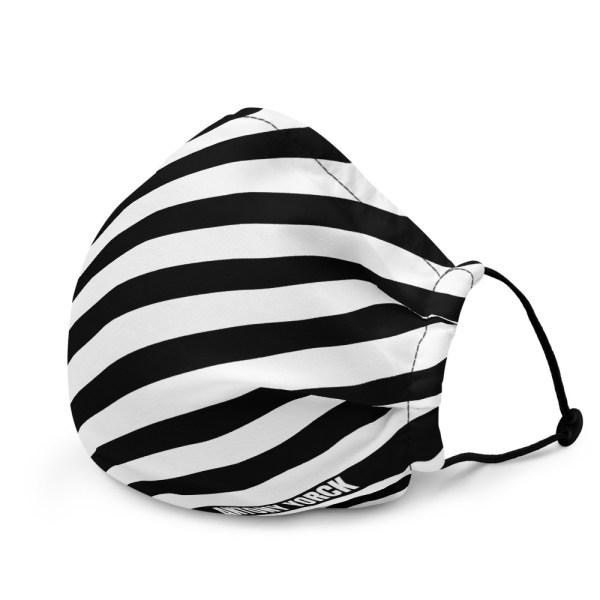 Antony Yorck Online Shop Microfaser Designer Gesichtsmaske schwarz weiss gestreift Mund-Nasen-Maske anpassbar an Nase verstellbare Ohrschlaufen0010