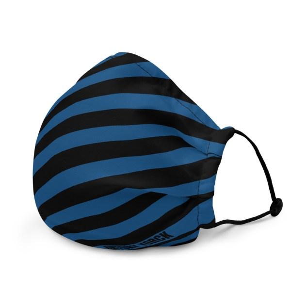 Antony Yorck Microfaser Designer Gesichtsmaske blau schwarz gestreift Mund-Nasen-Maske anpassbar an Nase verstellbare Ohrschlaufen 0010