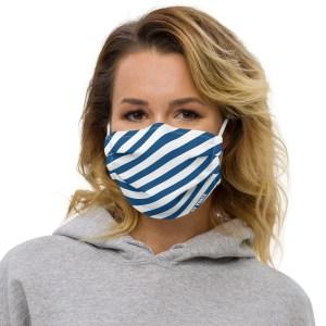 Antony Yorck Online Shop Microfaser Designer Gesichtsmaske blau weiss gestreift Mund-Nasen-Maske anpassbar an Nase verstellbare Ohrschlaufen 0007