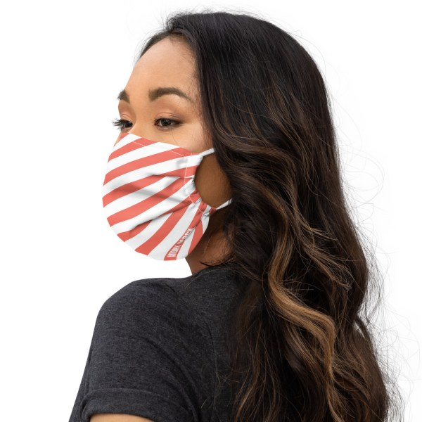 Antony Yorck Online Shop Microfaser Designer Gesichtsmaske coral rot weiss gestreift Mund-Nasen-Maske anpassbar an Nase verstellbare Ohrschlaufen0016
