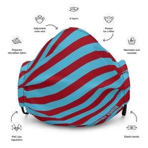 Antony Yorck Microfaser Designer Gesichtsmaske rot blau gestreift Mund-Nasen-Maske anpassbar an Nase verstellbare Ohrschlaufen0003