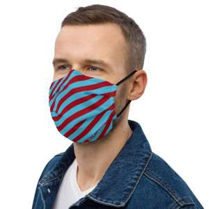 Antony Yorck Microfaser Designer Gesichtsmaske rot blau gestreift Mund-Nasen-Maske anpassbar an Nase verstellbare Ohrschlaufen0011