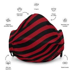 Antony Yorck Microfaser Designer Gesichtsmaske rot schwarz gestreift Mund-Nasen-Maske anpassbar an Nase verstellbare Ohrschlaufen0003