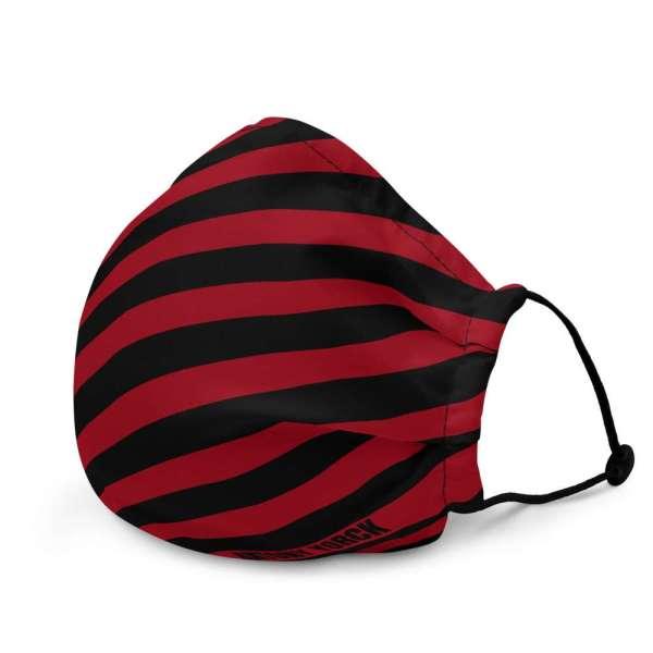 Antony Yorck Microfaser Designer Gesichtsmaske rot schwarz gestreift Mund-Nasen-Maske anpassbar an Nase verstellbare Ohrschlaufen0010