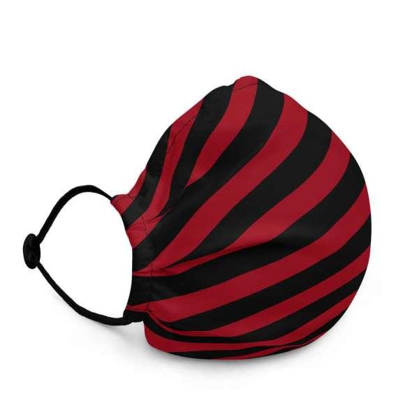 Antony Yorck Microfaser Designer Gesichtsmaske rot schwarz gestreift Mund-Nasen-Maske anpassbar an Nase verstellbare Ohrschlaufen0017
