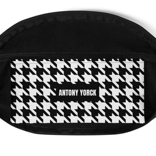 Antony Yorck • Gürteltasche • Fanny Pack • black and white houndstooth 5 mockup 355e147e