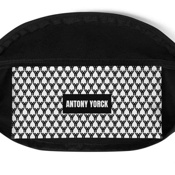 Antony Yorck • Gürteltasche • Fanny Pack • black and white logo pattern 5 mockup ef220314