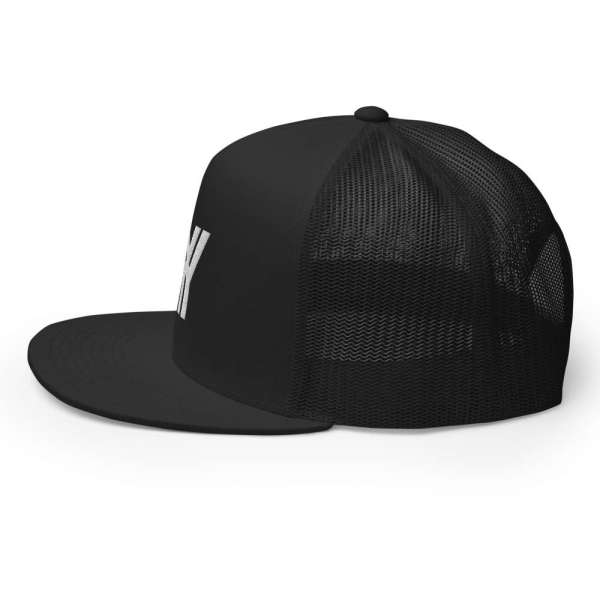 trucker cap snapback cap black logo white high profile flat bill side view right