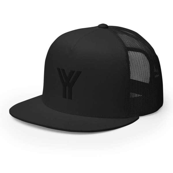 Baseball Cap YY Flat Bill Trucker Cap 1 mockup d25445ae