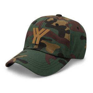 dad cap strapback cap camouflage yy old gold low profile curved visor side view left
