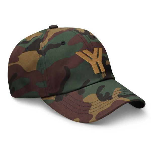 dad cap strapback cap camouflage yy old gold low profile curved visor side view right