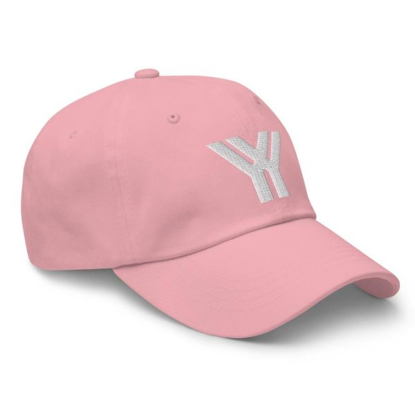 dad cap strapback cap pink yy white low profile curved visor side view right