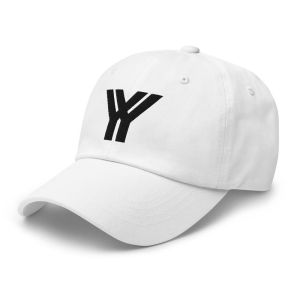 dad cap strapback white yy black low profile curved visor side view