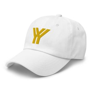 dad cap strapback cap white yy gold low profile curved visor side view left
